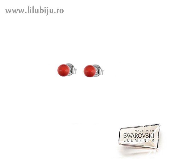Cercei Swarovski Elements™ - Perle Rosu Coral by LiluBiju