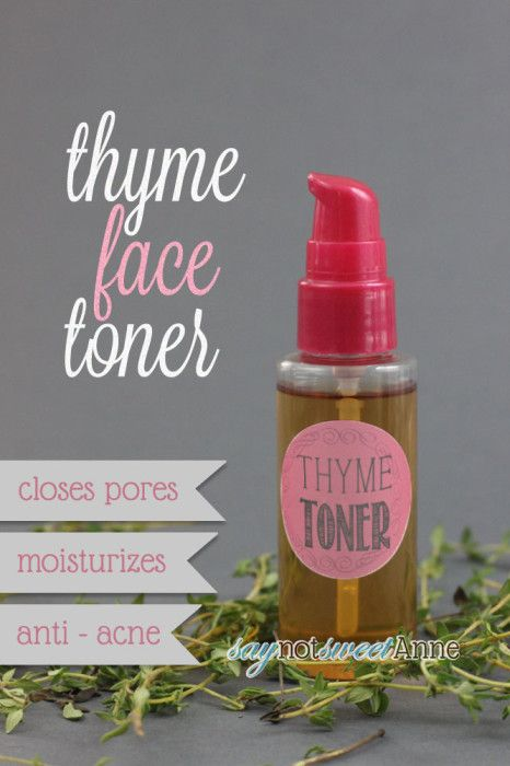 Two Ingredient Thyme Face Toner - Anti-acne with no dyes or perfumes! | saynotsweetanne.com | #diy #beauty #acne