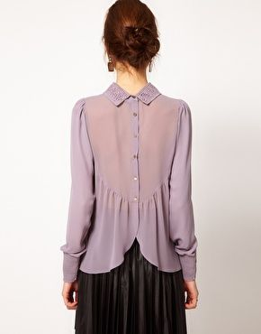 Warehouse Lace Collar Blouse With Button Back