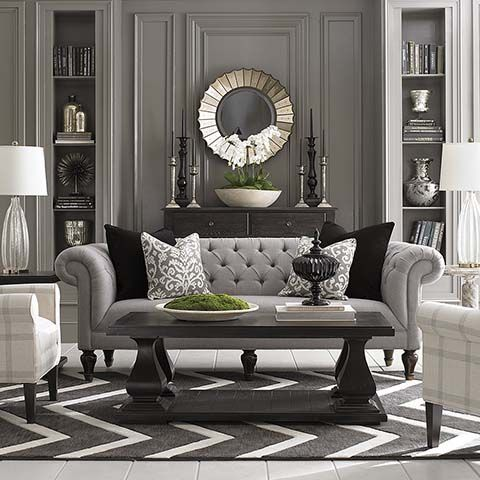 Chesterfield sofa grey walls design and furniture - English style interior design rigor and comfort ...