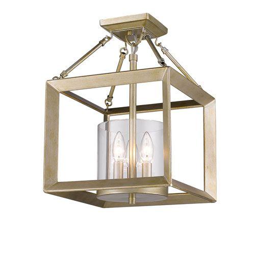 Golden Lighting Smyth White Gold Three Light Semi Flushmount With Clear  Glass Shade
