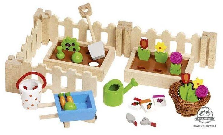 OGRÓD drewniany ogródek akcesoria dla lalek GOKI