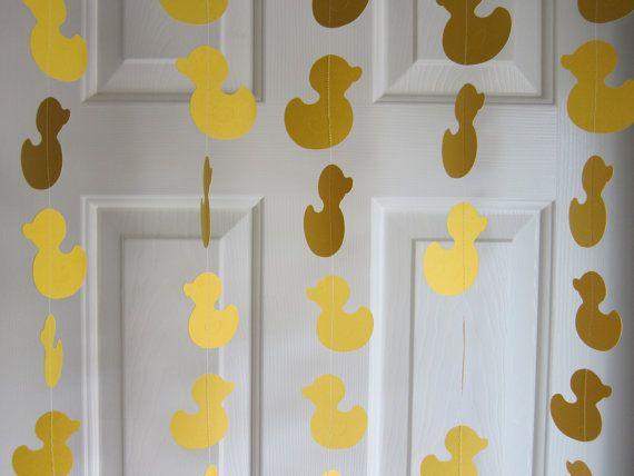 Paper Garland, Duck Garland, Baby Shower Garland, Baby Shower Decorations, Sesame Street Rubber Duckie, Duckling Garland, Waddle It Be via Etsy