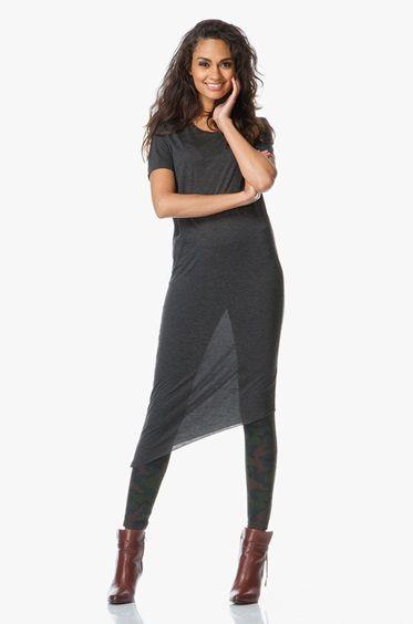 Denham Maia Asymmetrische T-shirtjurk - Charcoal Grijs - Denham the Jeanmaker
