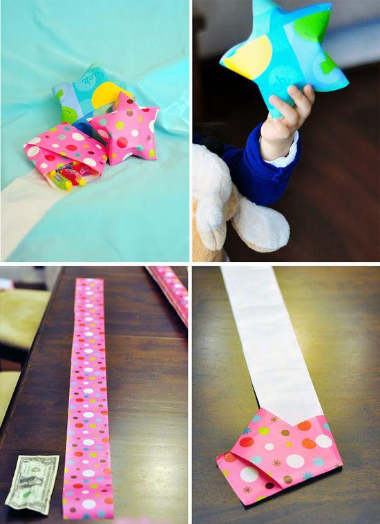большая звездочка из бумаги - идея дарения и упаковки небольшого подарка