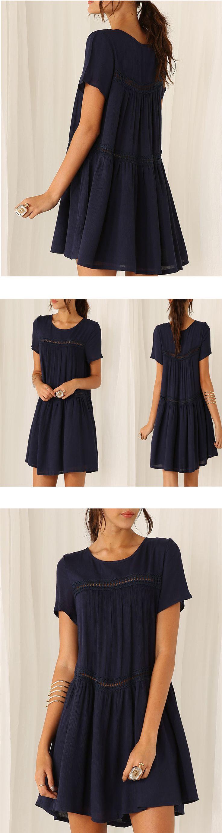 Navy Short Sleeve Shift Dress -SheIn(Sheinside)