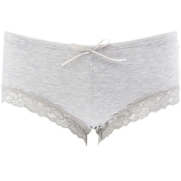 Charlotte Russe Lace-Trim Boyshort Panties ($3.50) ❤ liked on Polyvore featuring intimates, panties, grey, lace boyshorts, lace trim panties, lace panties, boy shorts panties and sheer panties