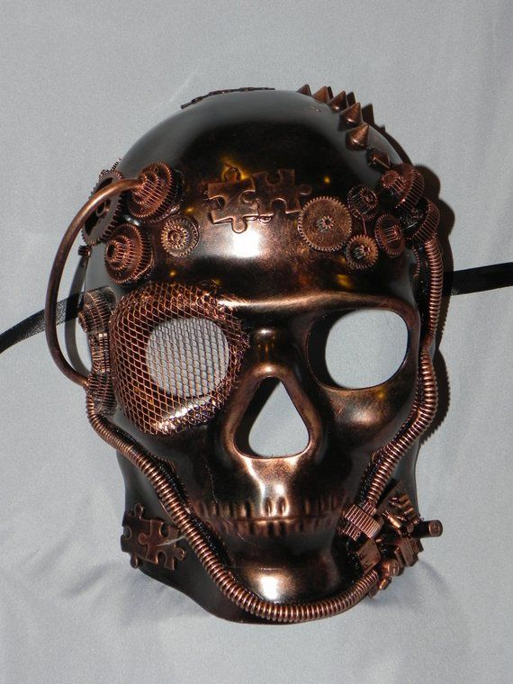 Copper Full Face Skeleton Mask With Steampunk Detailing Etsy