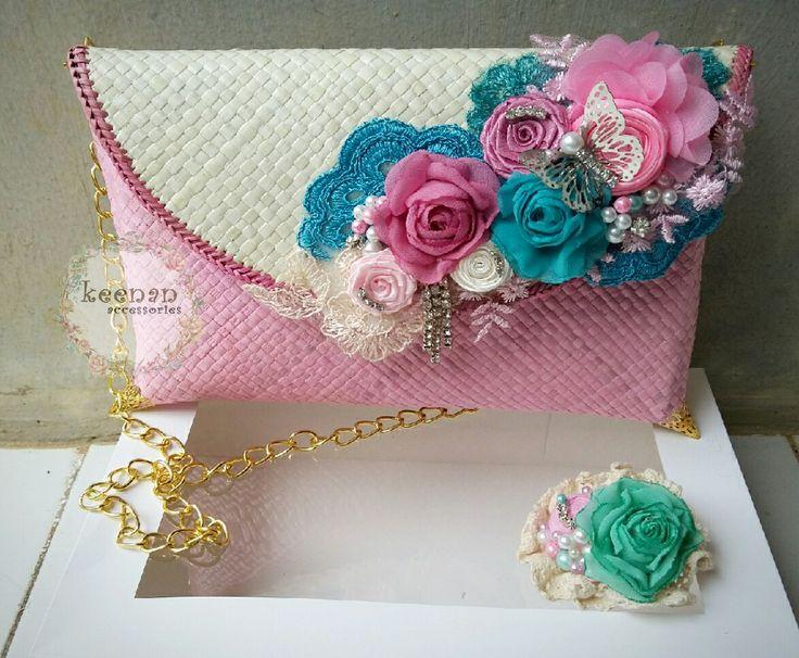 #clutch #handmade #fabricflower #clutchhandmade