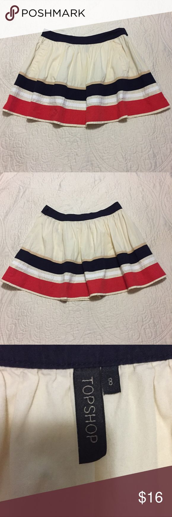 "Cute Topshop Skirt US Size 8 Euro Size 36 Topshop skirt. Great condition. Size 8. Colors: off white, navy blue and red. Laying flat from top to bottom it measures 15.5"". Topshop Skirts Mini"