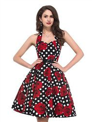 Mulheres Vestido Evasê Vintage Floral Médio Decote Redondo Algodão de 2017 por R$32.41