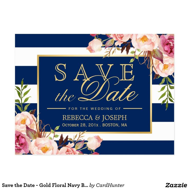 Save the Date - Gold Floral Navy Blue Stripes Postcard Save the Date - Gold Floral Navy Blue Stripes with Gold Frame Template - A Perfect Design for your Big Day. (1) All text style, colors, sizes can be modified to fit your needs. (2) If you need any customization or matching stationery, please feel free to contact me.