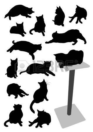 Silhouetten von Katzen Lizenzfreie Bilder