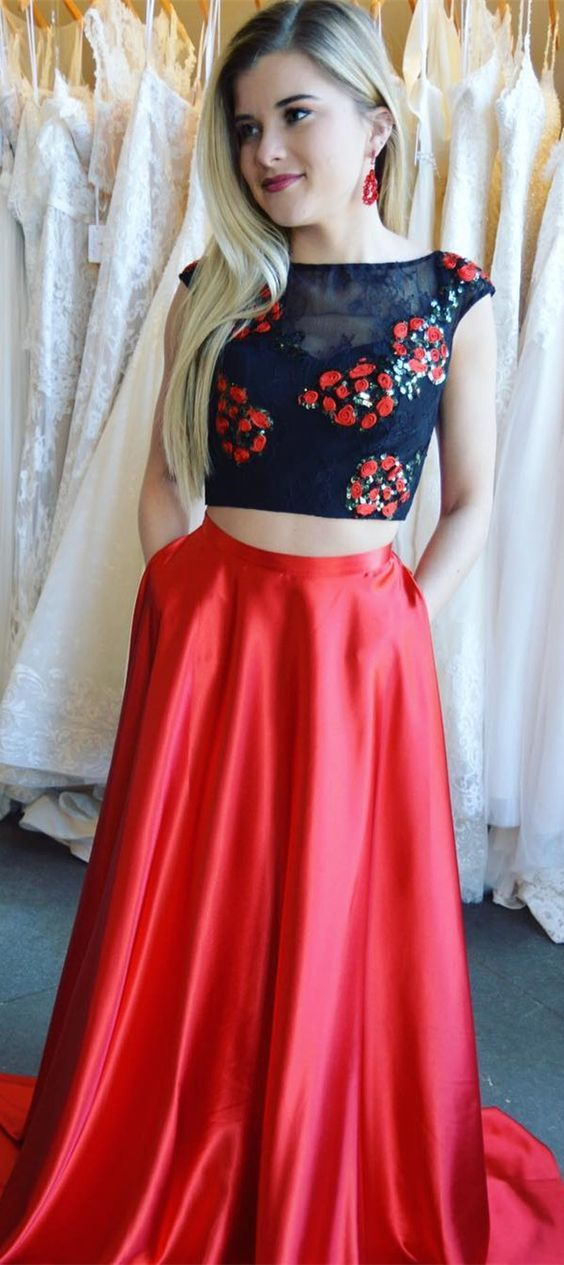 146645d50b1 Two Piece Crew Sweep Train Red Satin Open Back Prom Dress with ...