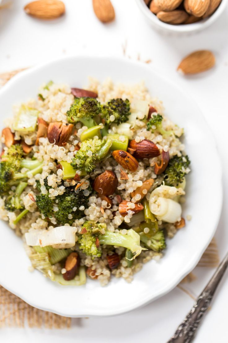 This Roasted Leek & Broccoli Quinoa Salad is light and flavorful with a honey-lemon dressing! Perfect as a summer side, but easily bulked up with a protein!