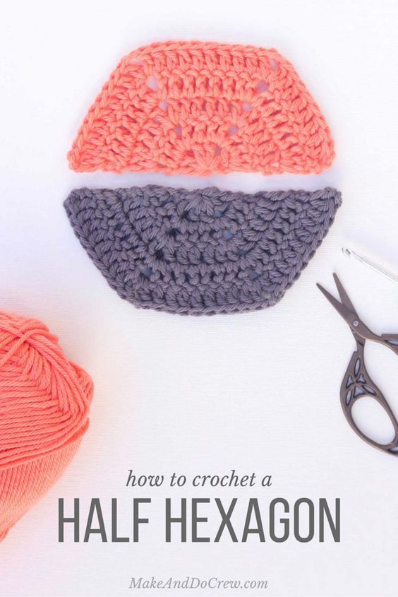Whether you'd like to fill in the edging on a hexagon afghan or simply want to make multi-colored hexagons, this free pattern will teach you how to crochet a half hexagon and customize the size to meet your needs.
