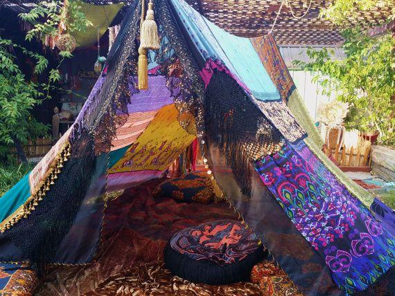 Witchy Gypsy Woman Boho tent Made To Order silk scarves hippie patchwork coachella Wedding Decor photo prop backdrop Bohemian HIPPIEWILD