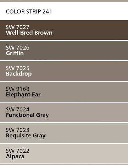 Sherwin Williams Color Strip 241 Alpaca Requisite Gray Functional Gray Elephant Paint