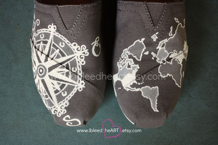 Custom Painted TOMS Shoes - Wanderlust Adventure Travel Compass and World Map in Gray and White - Adult by ibleedheART on Etsy