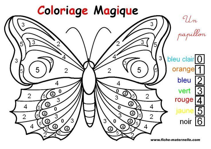COLORIAGE MAGIQUE : un papillon