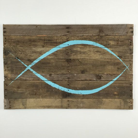 ICHTHYS / Jesus Fish Wall Hanging on Blue ICHTHYS on natural