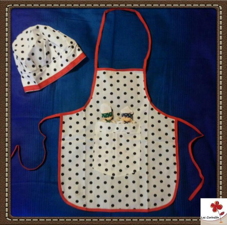 Delantal y gorro para cocinero + cocineritos