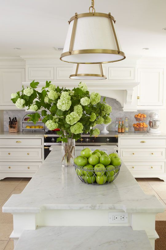 greenery in the kitchen: Decor, Interior, Marble, Green, Light Fixture, Kitchen Ideas, White Kitchens