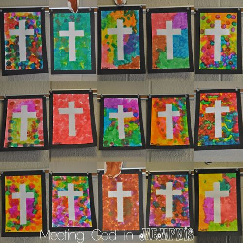 Meeting God in Memphis: Cross Crafts for Easter - dot painted crosses! YES