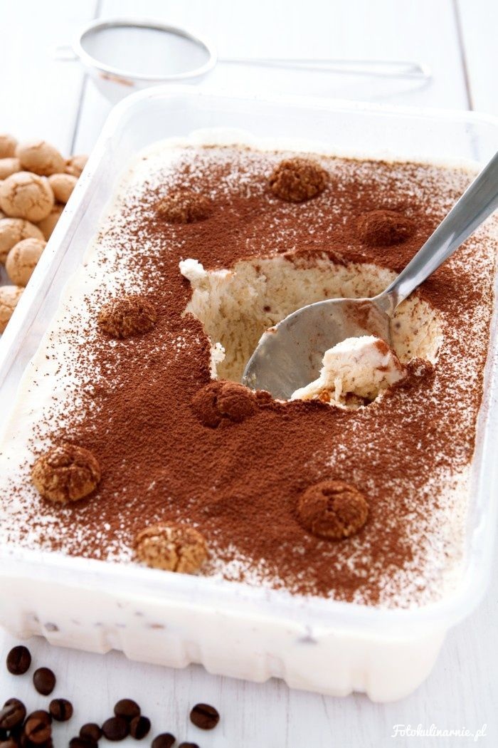 Homemade Tiramisu Ice Cream with Amaretti biscuits, without an Ice Cream Maker or Mixing.
