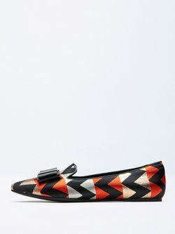 Orange Leather Flat Heel Bowknot Flats