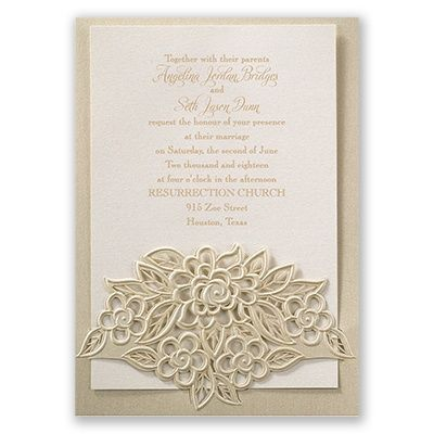 Flowers are blossoming before your eyes on the front of these beautifully designed, laser cut wedding invitations. Printed with raised ink in your color choice. From Invitations by Dawn.