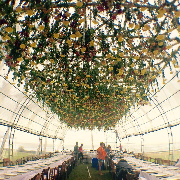 Floral installation inside parabolic marquee Flowers by Shiro Hana - Sri Lanka www.shirohanaweddings.com