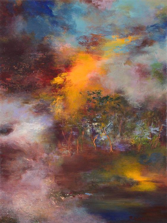(disponible),  Crepuscule, Twilight 7009 - Peinture,  60x5x80 cm ©2012 par Rikka Ayasaki -                                                            Peinture contemporaine, Toile, Fantaisie, couleur, rouge, abstraction, Bois, lumière, nuages, arbres, paysage