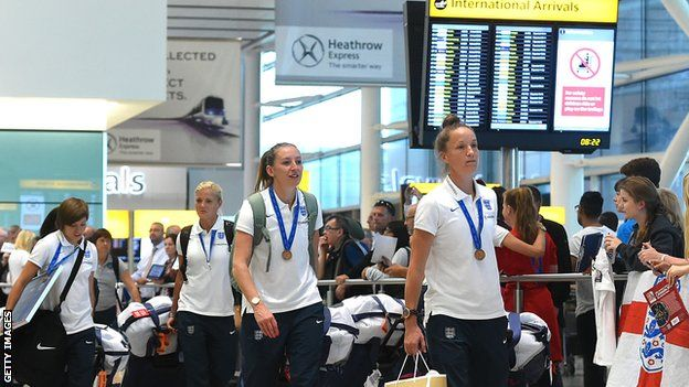 England women arrive at Heathrow