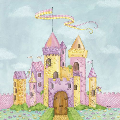 Fairy castle wall art by hillary james boy bedrooms for Fairy castle mural