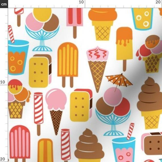 Eiscremestoff – Mittagessen in der Eisdiele Von Christinewitte – Pastellfarben …   – Products