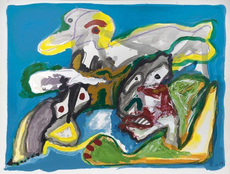 Lucebert Jacobus Swaanswijk (1924-1994) Composition with animal figure, gouache on paper. Collection Simonis & Buunk, The Netherlands.