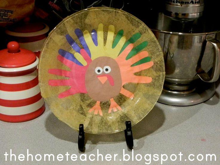 The Home Teacher: Dollar Store Turkey Handprint Plate