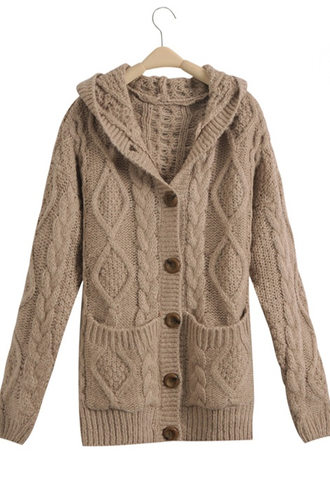 Light Coffee Hooded Long Sleeve Cardigan Sweater Coat $65