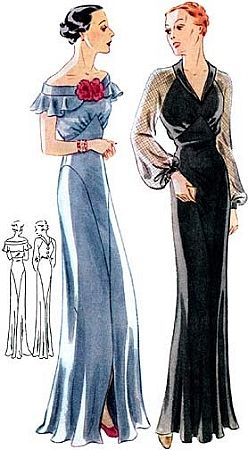 Love the sheer sleeved version!1930s Evening Gown With Two Neckline Options