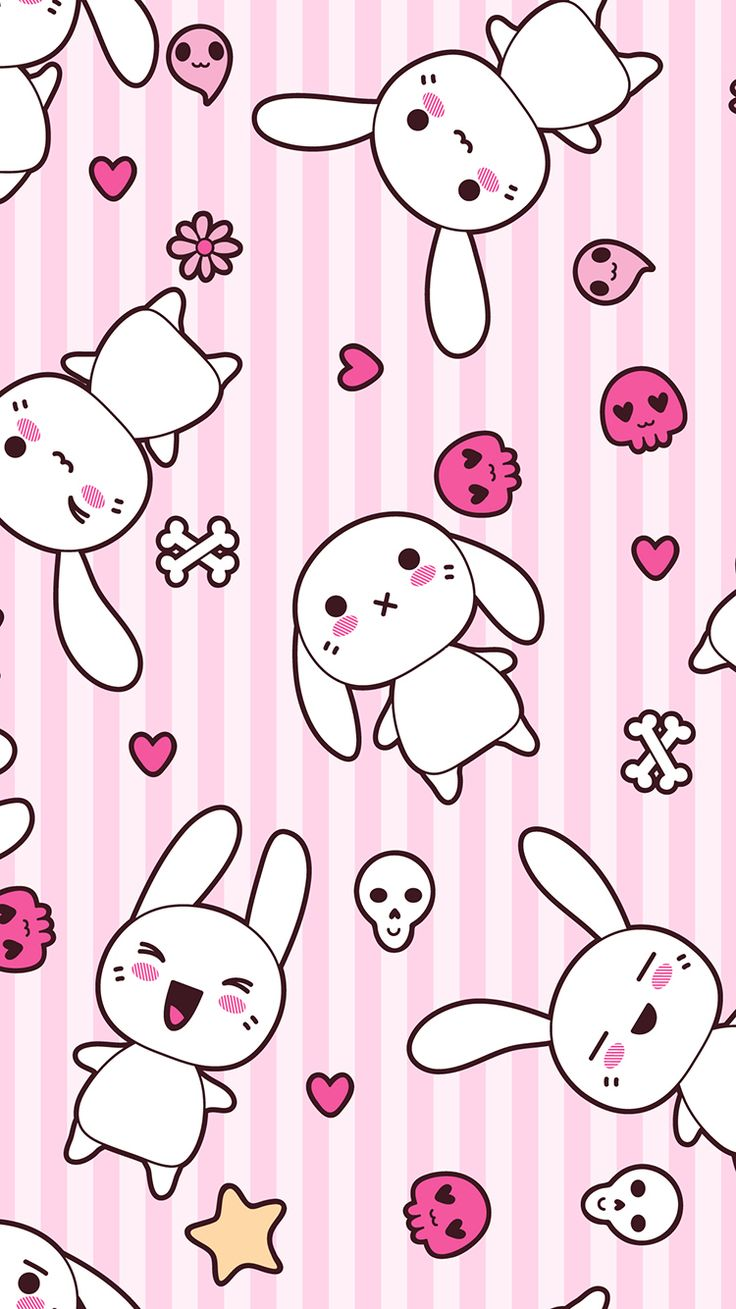 TAP AND GET FREE APP ⬆️ Cute girly anime bunnies on pink ...