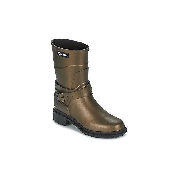 Aigle MACADAMES MID Wellington Boots (728470 PYG) ❤ liked on Polyvore featuring shoes, boots, brown, rain boots, aigle shoes, brown shoes, brown boots and brown rain boots