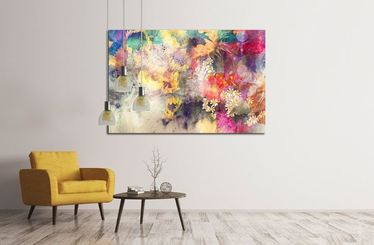 watercolor painting combined with field №2895 Canvas Print