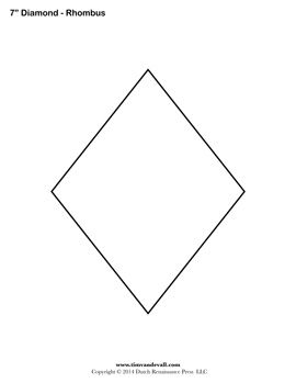 Free diamond templates and printable rhombus shapes for your artwork. Use them for decorations, labels, stickers, signs, and stencils.