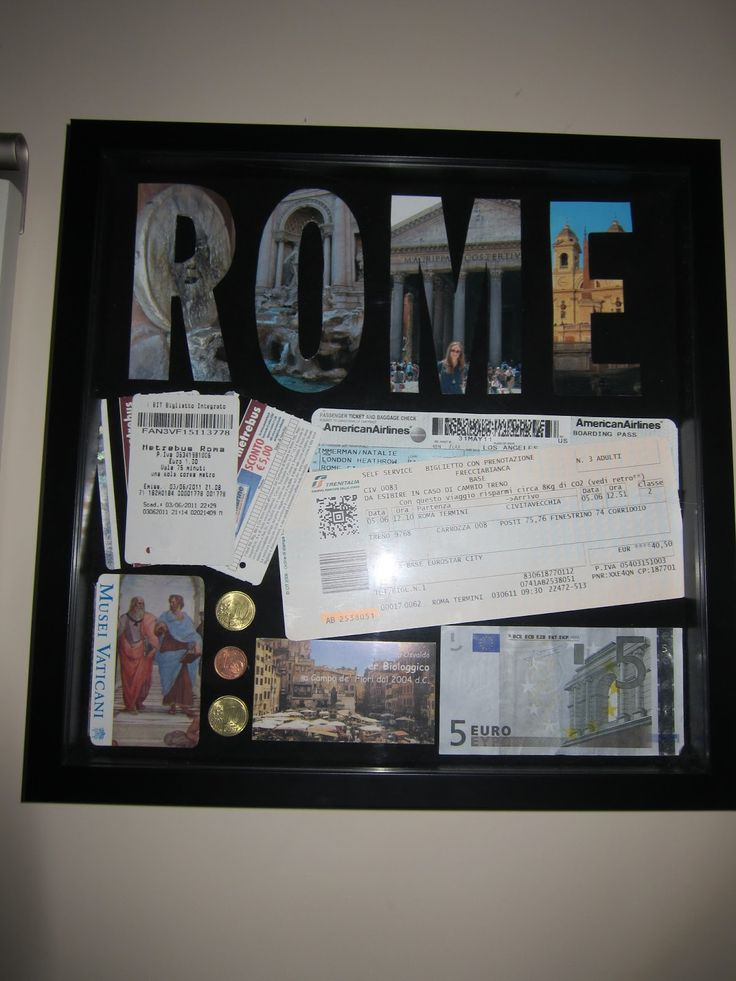 Great way to display all those travel ticket stub and a few pictures! DIY travel shadow box