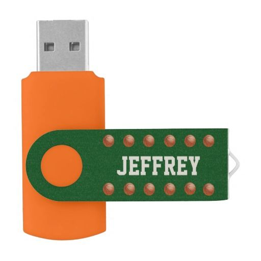 Personalized, Baseball USB Flash Drive - This personalized USB Flash Drive is made in orange, with a green cover decorated with baseballs. Simple, elegant, and eye-catching! Easy to personalize, or delete example text. Great gift for teacher, student, coach, basketball player, or stocking stuffer. All Rights Reserved © 2014 Alan & Marcia Socolik.
