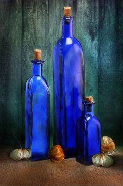 Blue bottles are so gorgeous - they make an art statement - an instant still life.
