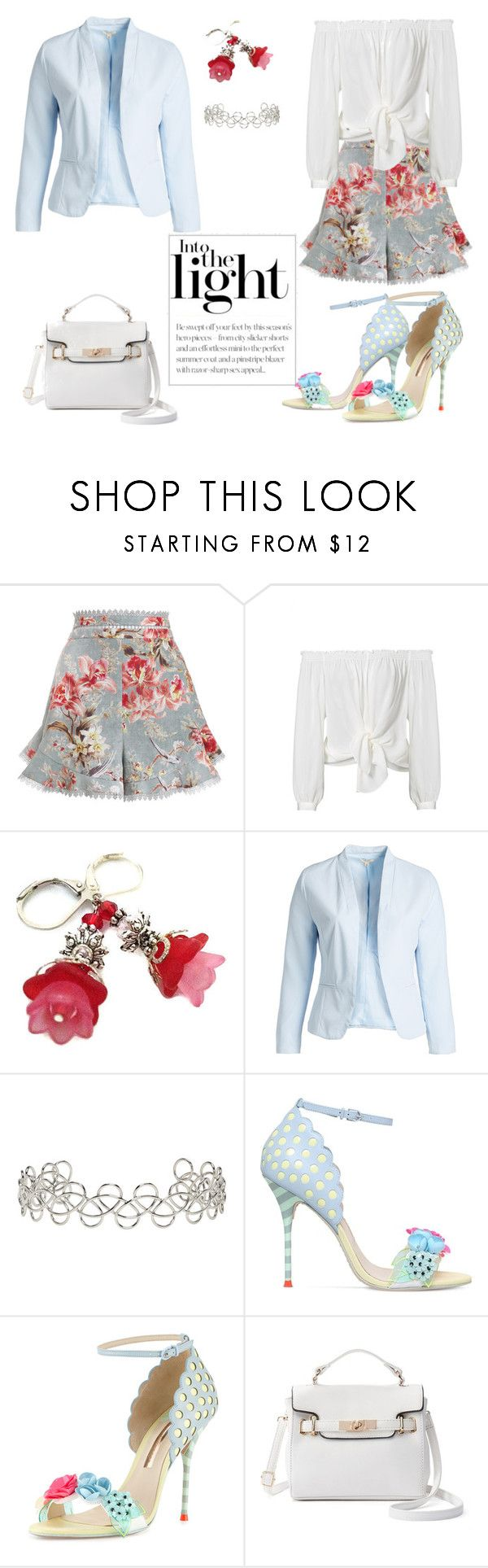 """""""pastel smart shorts"""" by louise-bailey-1 ❤ liked on Polyvore featuring Zimmermann, Nicole Miller, Blu Pepper, Acne Studios, Sophia Webster, shorts, showsomeshoulder and plus size clothing"""