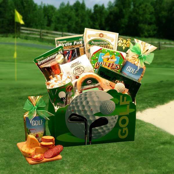great for golf lovers. give that nice swing and send this awesome golf gift basket.
