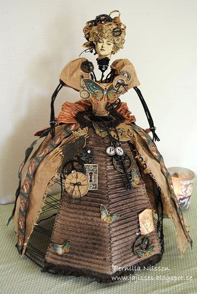 Steampunk Bride mixed media doll